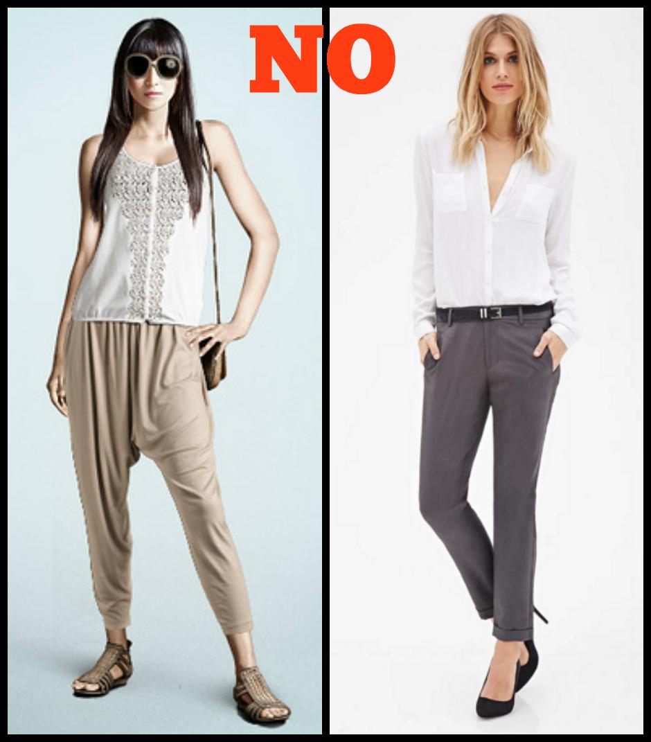 Pantaloni no donna a triangolo